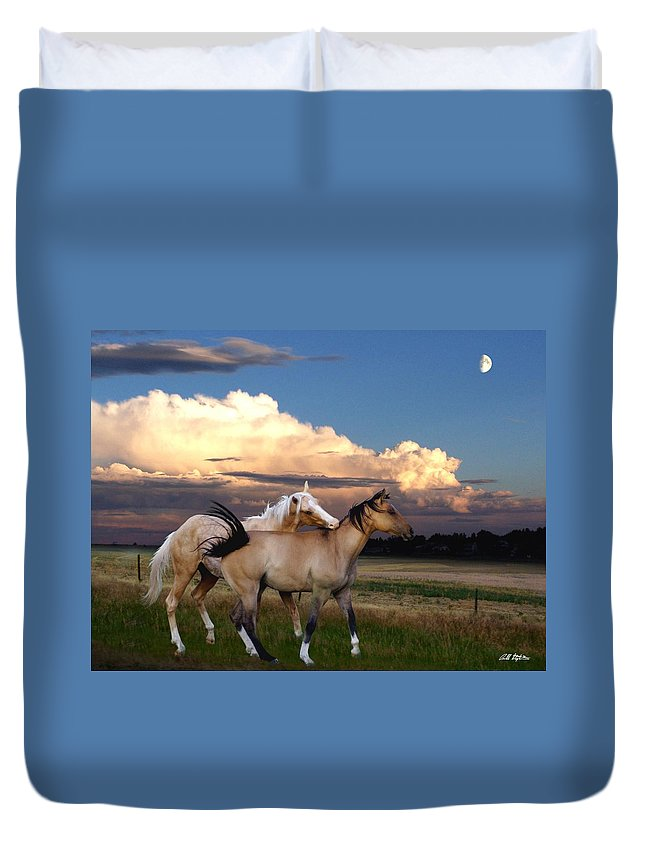 Horses Duvet Cover featuring the mixed media Love Bites by Bill Stephens