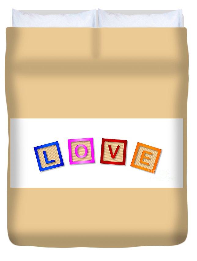 Love Duvet Cover featuring the digital art Love Blocks by Bigalbaloo Stock