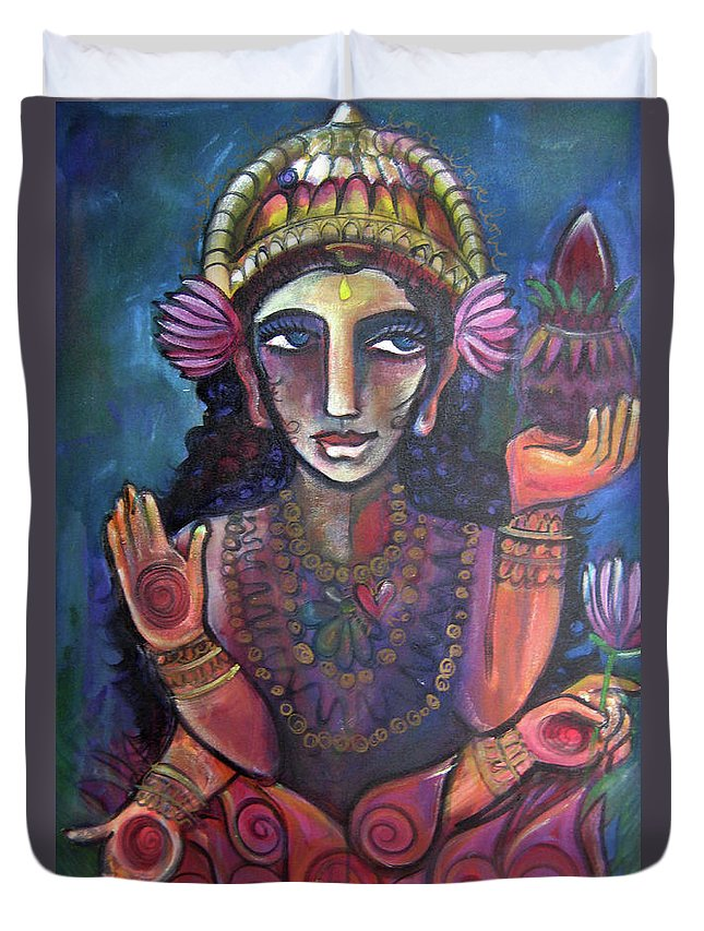 Lakshmi Duvet Cover featuring the painting Love For Lakshmi by Laurie Maves ART