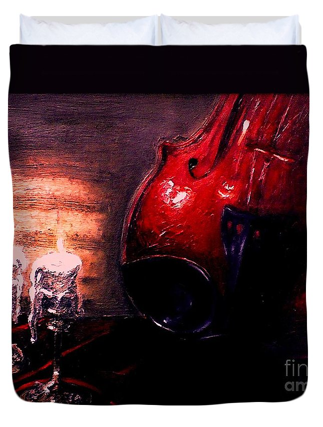 Love Duvet Cover featuring the painting Love For Music by Patricia Awapara