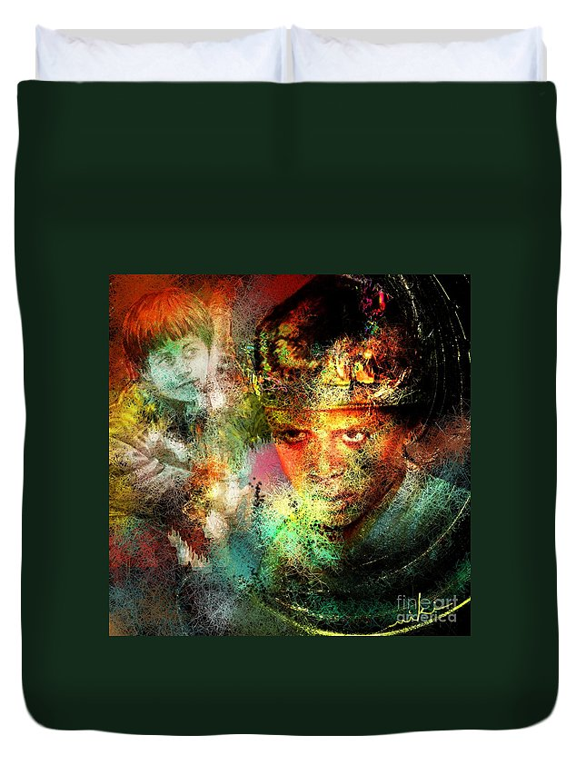 Portrait Duvet Cover featuring the painting Love For The Boy King by Miki De Goodaboom