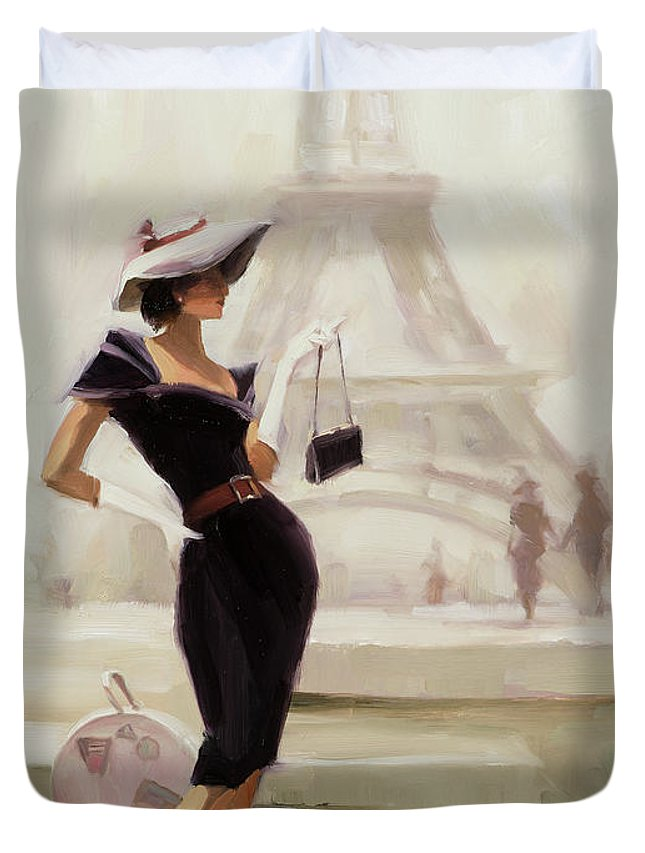 Paris Duvet Cover featuring the painting Love, from Paris by Steve Henderson