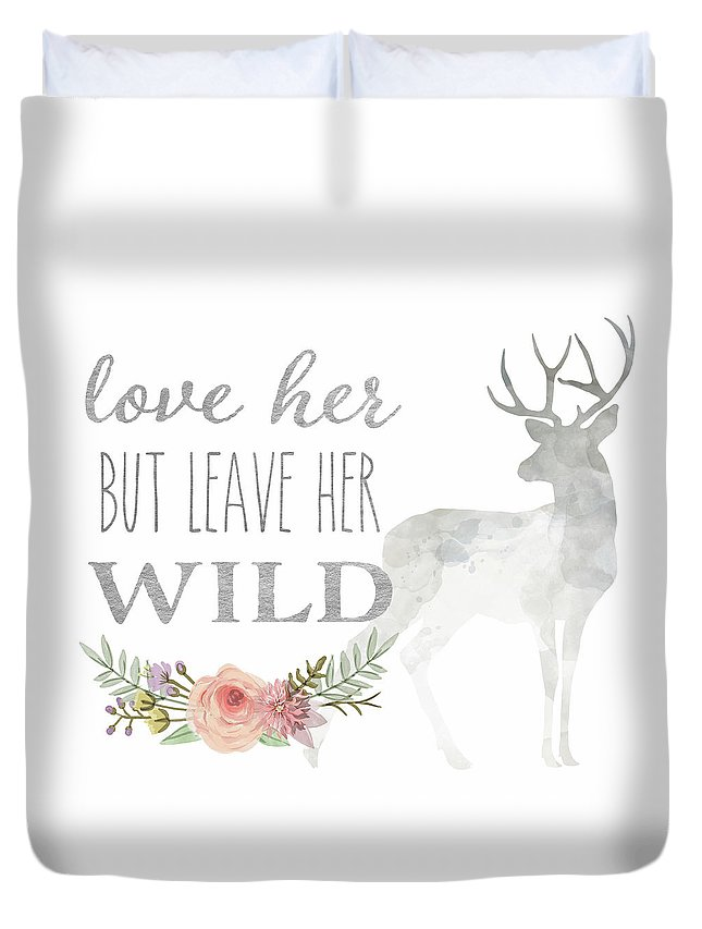 Love Her But Leave Her Wild Print Woodland Boho Deer Decor Print Duvet Cover