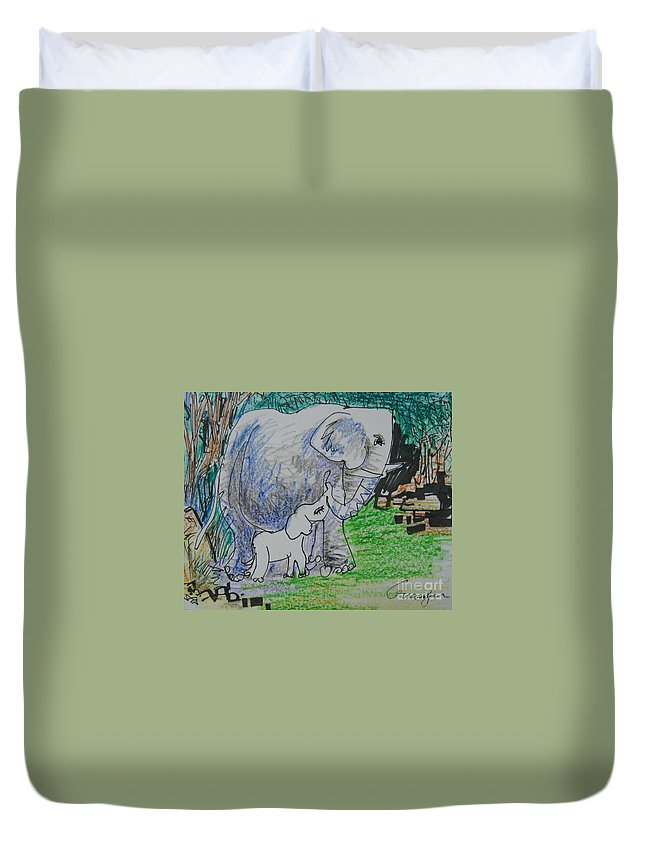 Elephant Duvet Cover featuring the drawing Love I by Guanyu Shi