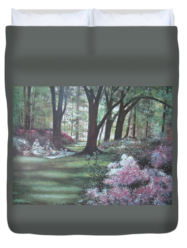 Charles Roy Smith Duvet Cover featuring the painting Love In Bloom by Charles Roy Smith