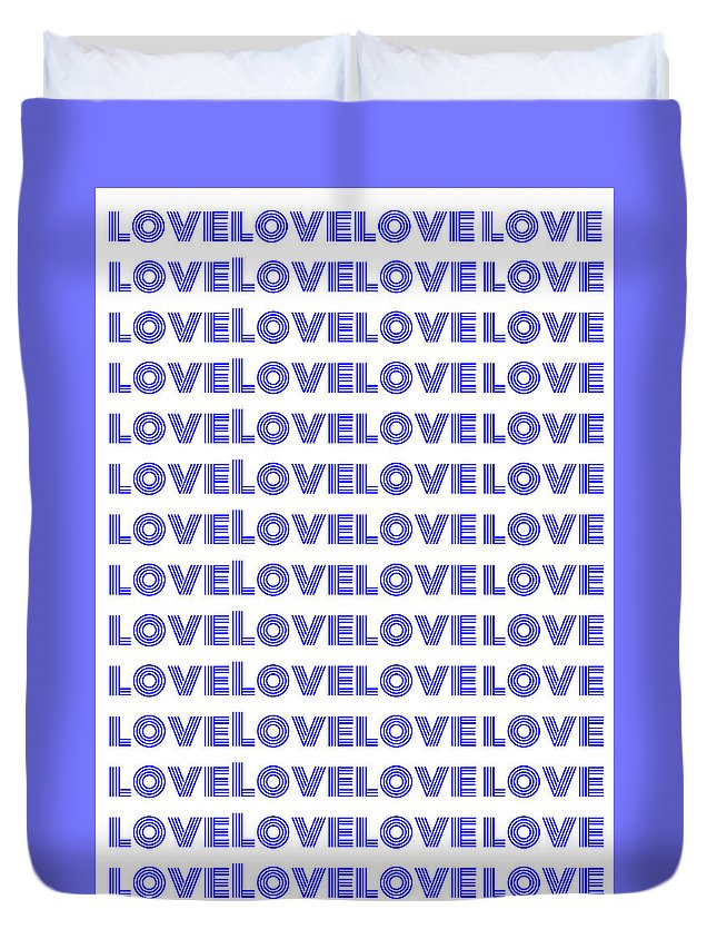 Love Duvet Cover featuring the digital art Love In Blue Neon by LogCabinCottage
