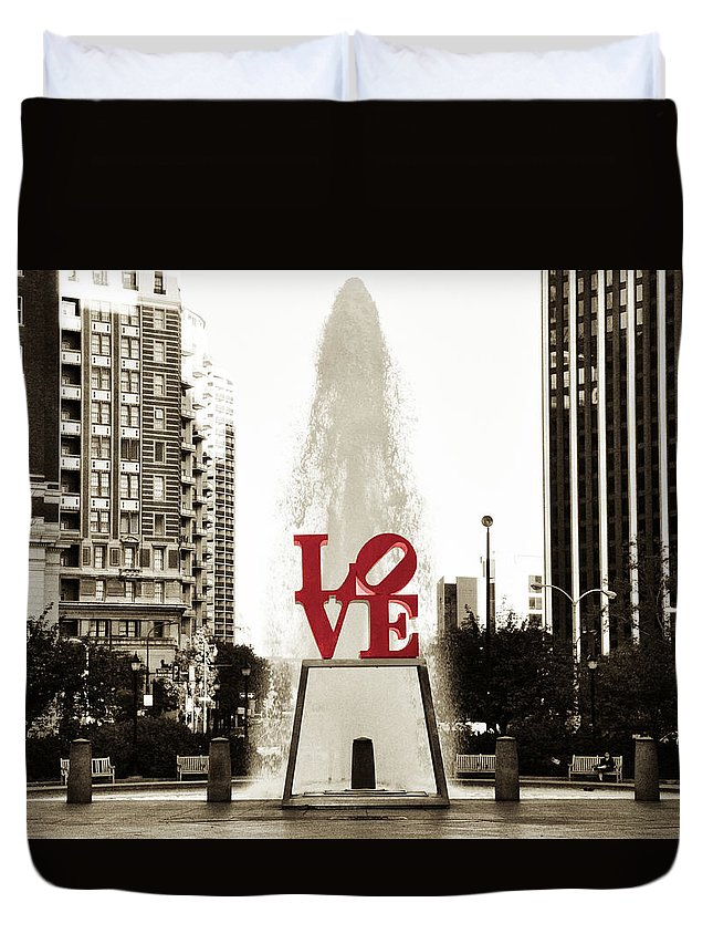 Love Duvet Cover featuring the photograph Love in Philadelphia by Bill Cannon