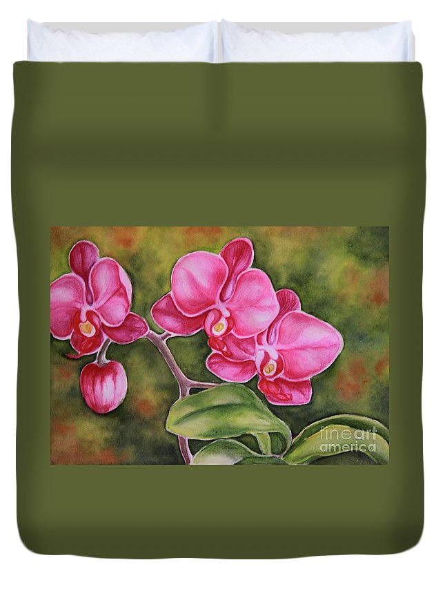 Flower Duvet Cover featuring the painting Love In Pink by Inese Poga