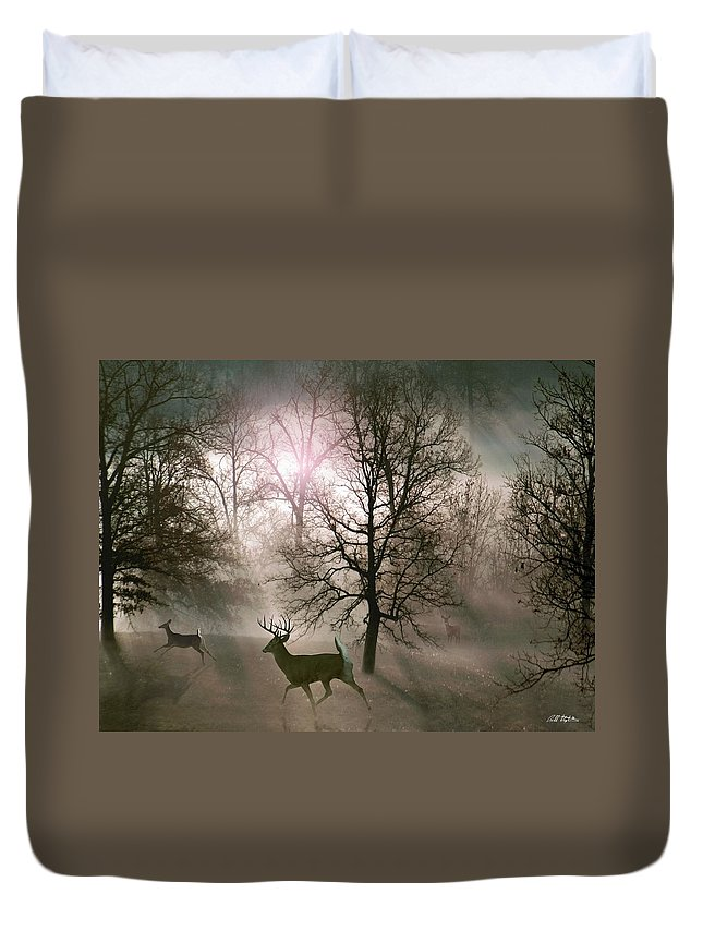 Wildlife Duvet Cover featuring the digital art Love In The Wild by Bill Stephens