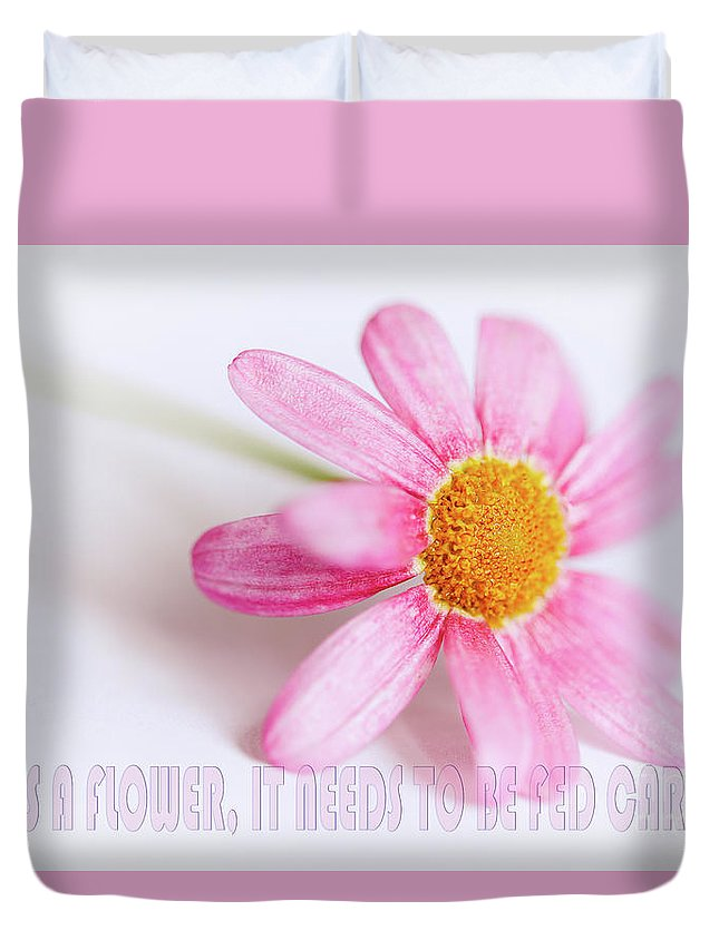 Pink Duvet Cover featuring the photograph Love Is A Flower by Nick Biemans