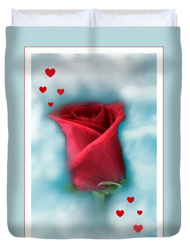 Rose Art Duvet Cover featuring the photograph Love Is In The Air by Linda Sannuti