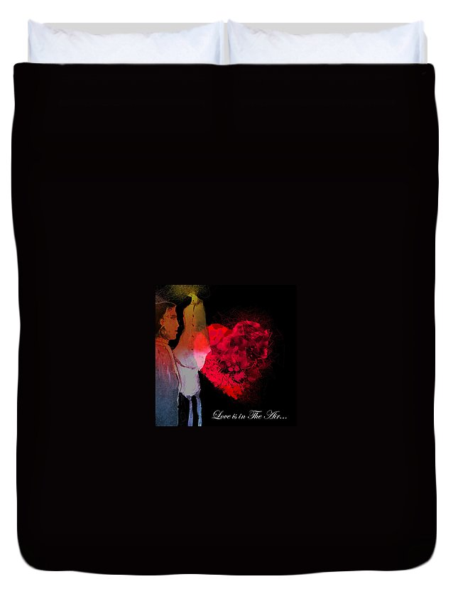Love Duvet Cover featuring the painting Love Is In The Air by Miki De Goodaboom