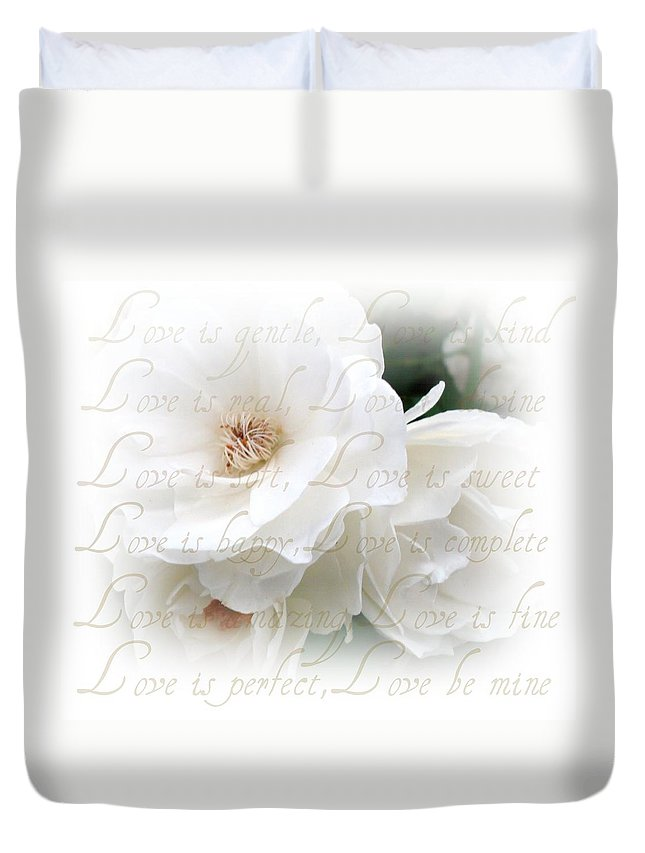 Flowers Duvet Cover featuring the photograph Love Is by Kathy Bucari