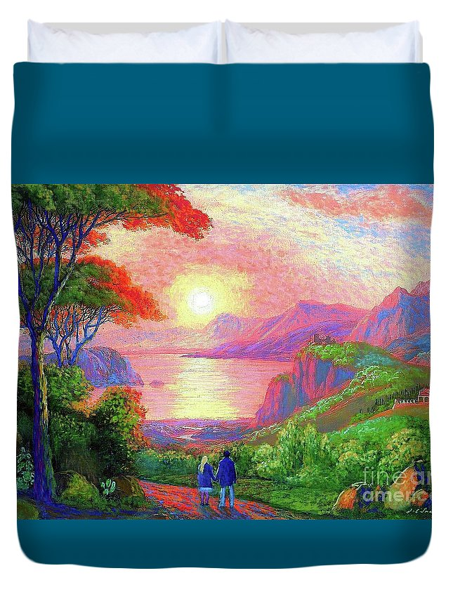 Sun Duvet Cover featuring the painting Love Is Sharing The Journey by Jane Small