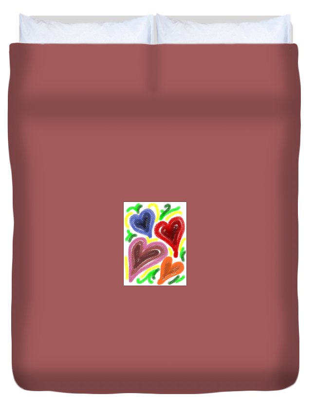 Love Duvet Cover featuring the painting Love by Kumiko Izumi