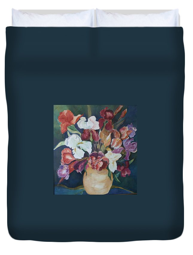 Flowers Duvet Cover featuring the painting Love Language by Donna Steward