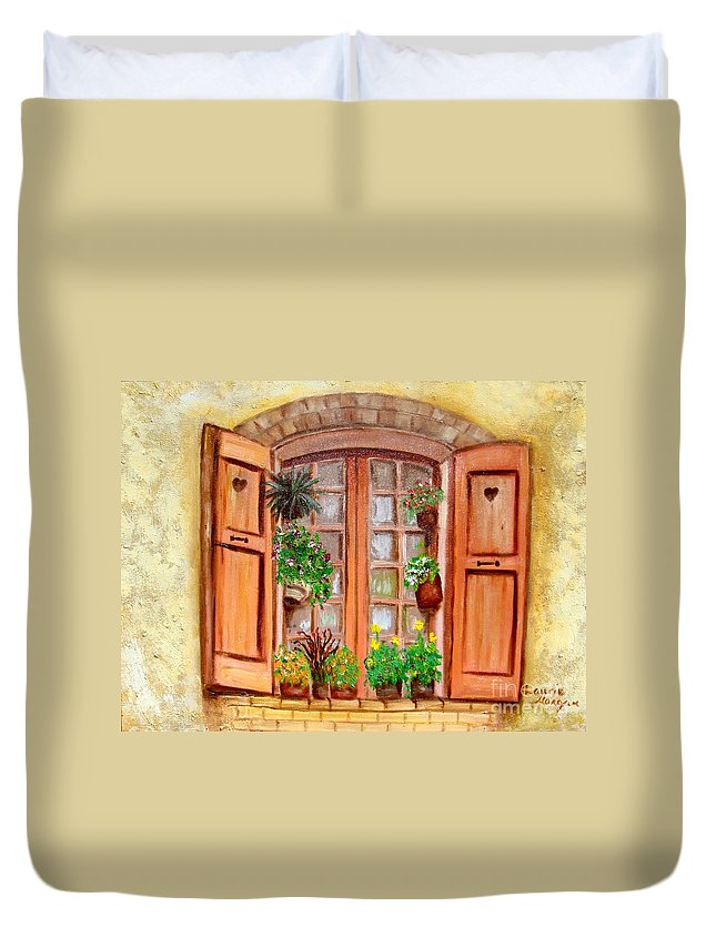 Windows Duvet Cover featuring the painting Love Nest by Laurie Morgan