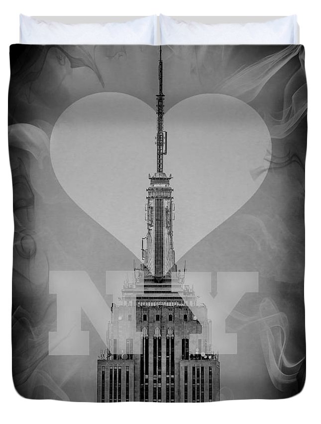 New York Duvet Cover featuring the digital art Love New York Bw by Az Jackson