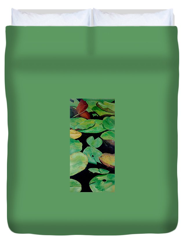 Love Duvet Cover featuring the painting Love by Racquel Morgan