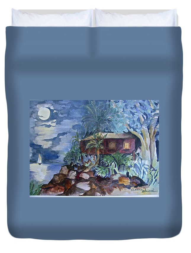 Moomlight Duvet Cover featuring the painting Love Shack by Donna Steward