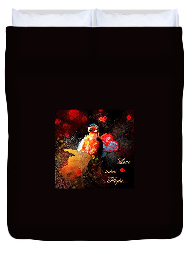 Love Duvet Cover featuring the painting Love Takes Flight by Miki De Goodaboom