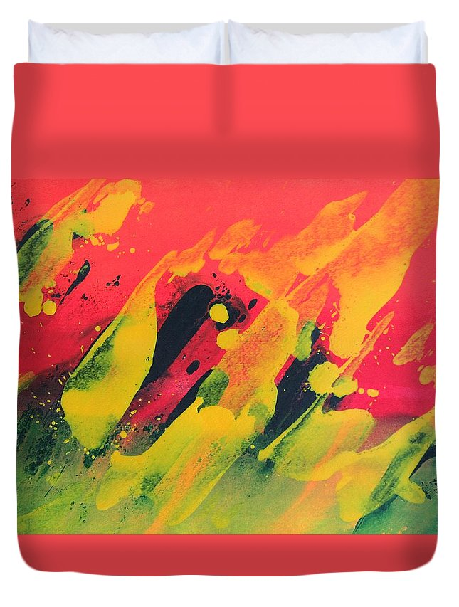 Abstract Duvet Cover featuring the painting Love Those Diagonals - Yellow 2 by Louise Adams