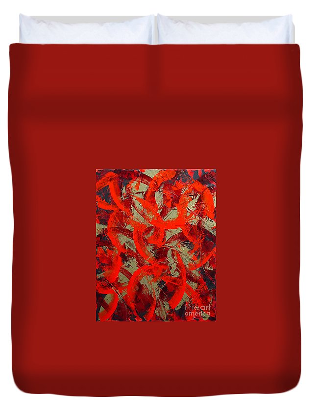 Abstract Duvet Cover featuring the painting Love Trails by Dean Triolo
