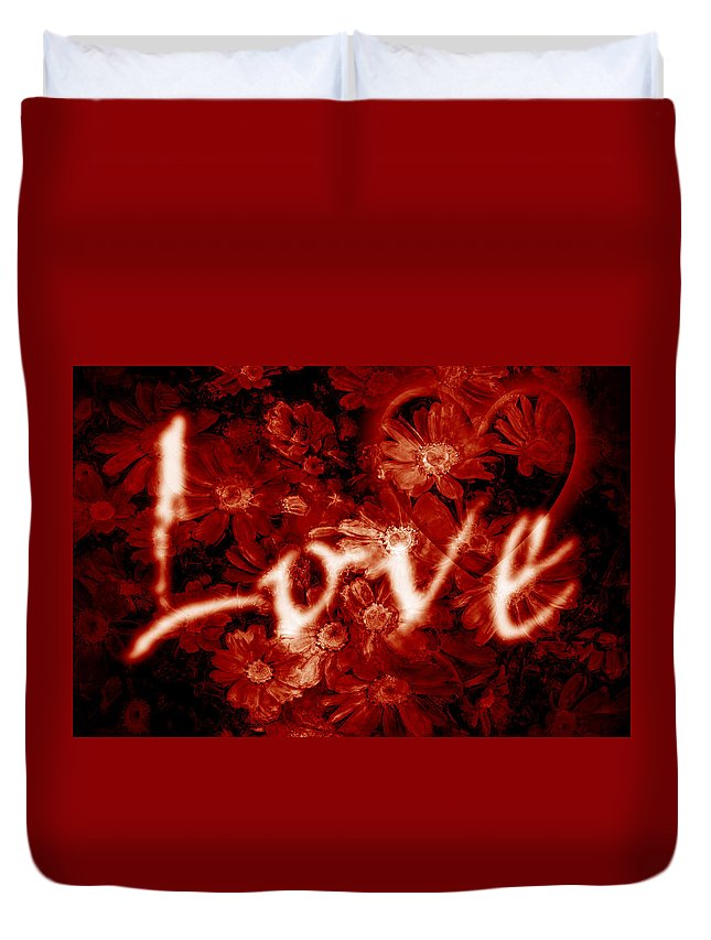 Love Duvet Cover featuring the photograph Love With Flowers by Phill Petrovic
