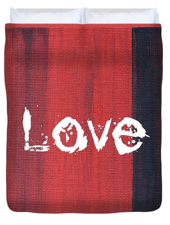 Love Duvet Cover featuring the mixed media Love by Kathleen Wong