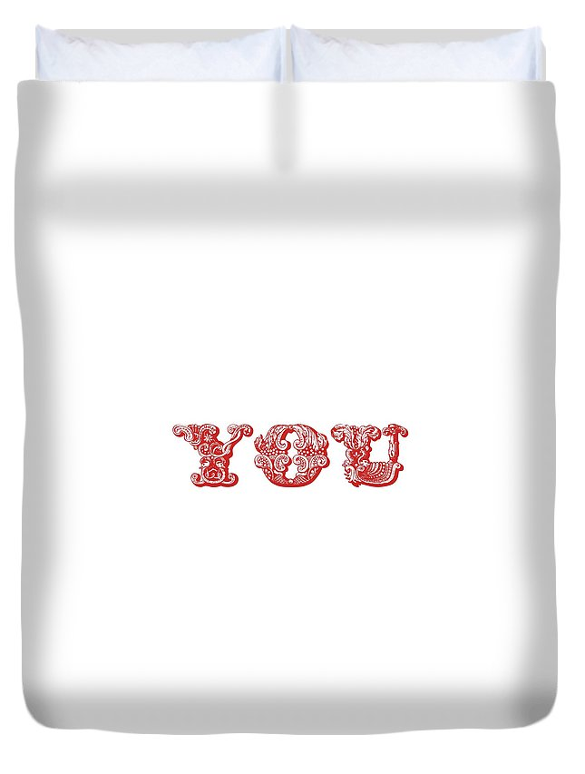 Love You Part 1 Duvet Cover featuring the digital art Love You Part 1 by Priscilla Wolfe