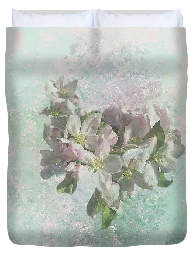 Apple Blossoms Duvet Cover featuring the photograph Lovely Apple Blossoms by Elisabeth Lucas