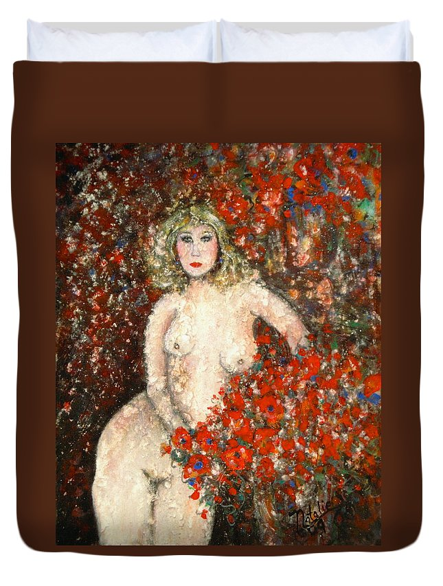 Nude Duvet Cover featuring the painting Lovely Flora by Natalie Holland