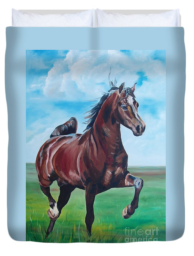 Horse Duvet Cover featuring the painting Lovely by Gina De Gorna