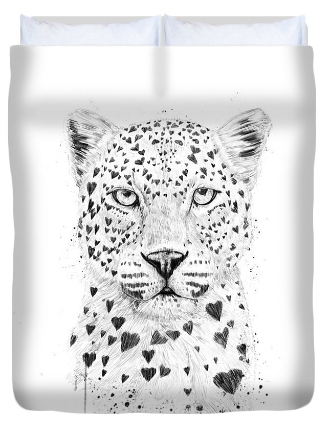 Leopard Duvet Cover featuring the drawing Lovely leopard by Balazs Solti