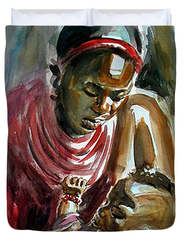 Masai Mother And Child Duvet Cover featuring the painting Lovely Masai Mother by William Mutua