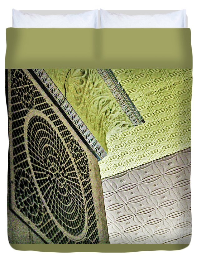 Illinois Duvet Cover featuring the photograph Lovely Patterns Of An Old School Interior by Laura Birr Brown