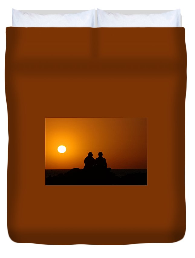 Sunset Duvet Cover featuring the photograph Lovers At Sunset by Susanne Van Hulst