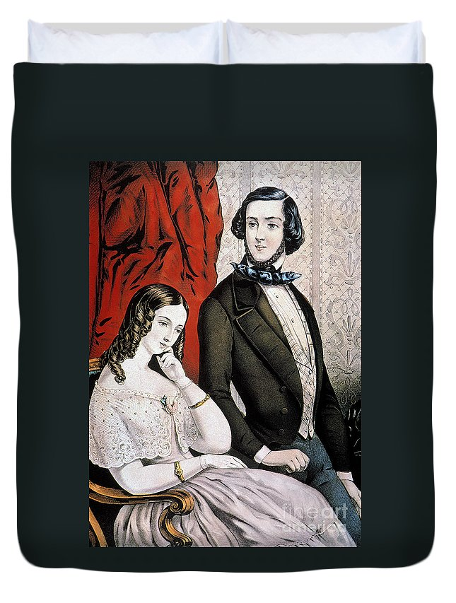 1846 Duvet Cover featuring the photograph Lovers Quarrel, 1846 by Granger
