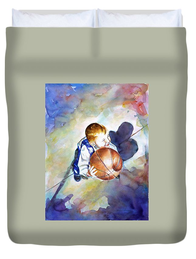 Watercolor Duvet Cover featuring the painting Loves the Game by Shannon Grissom