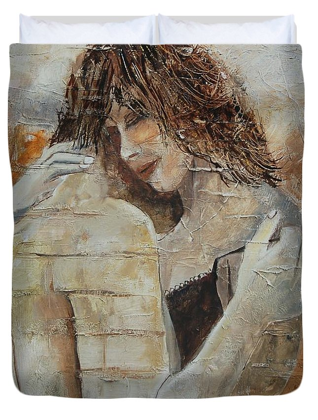 Girl Duvet Cover featuring the painting Loving Couple by Pol Ledent
