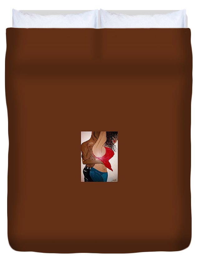 Sexy Duvet Cover featuring the painting Loving by Leticia Acevedo
