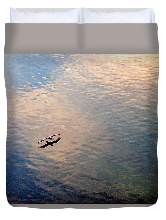 Pelican Duvet Cover featuring the photograph Low Flight by Mal Bray