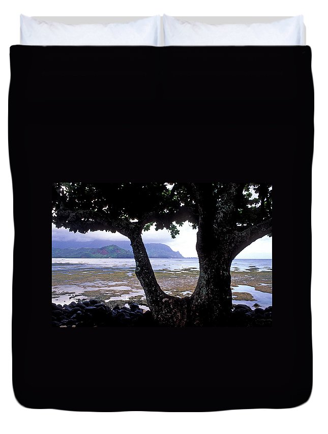 Kauai Photos Duvet Cover featuring the photograph Low Tide And The Tree by Kathy Yates