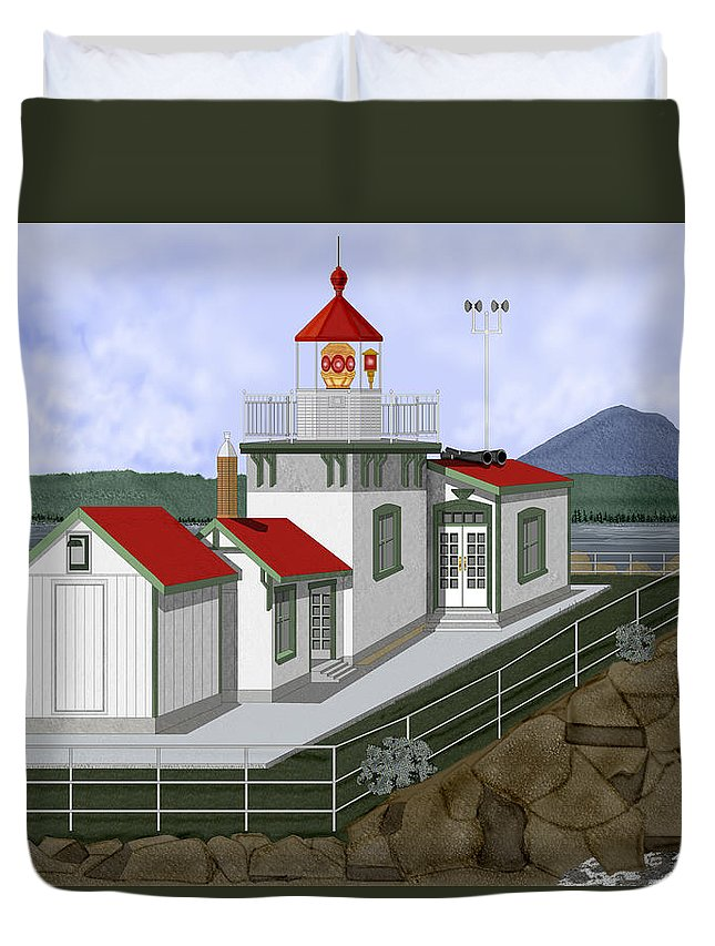 Lighthouse Duvet Cover featuring the painting Low Tide At West Point Lighthouse In Seattle by Anne Norskog