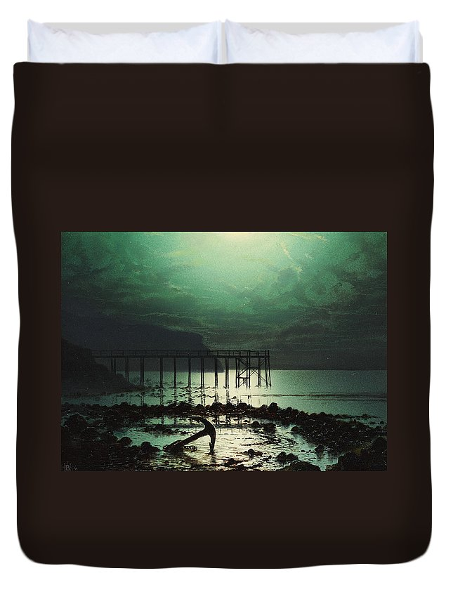 Seascape Duvet Cover featuring the painting Low Tide By Moonlight by WHJ Boot