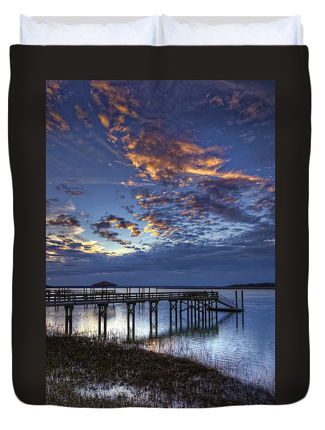 Beaufort County Duvet Cover featuring the photograph Low Tide Long Dock by Phill Doherty