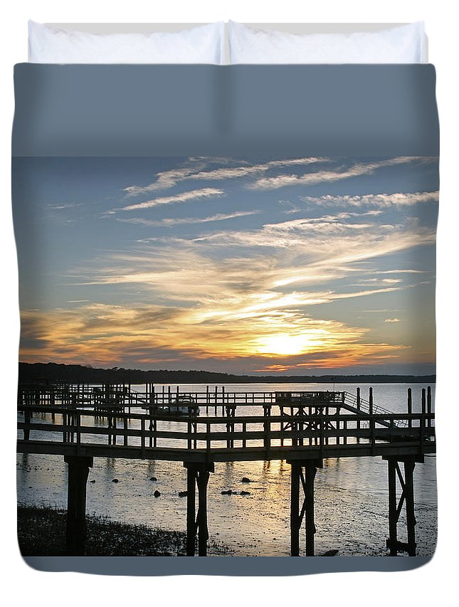 Sunset Duvet Cover featuring the photograph Low Tide by Phill Doherty