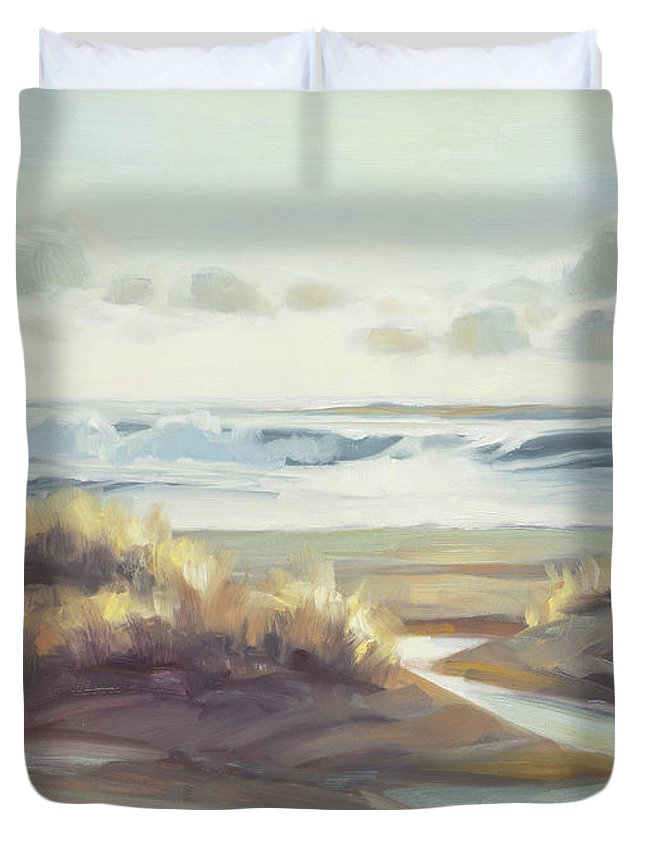 Ocean Duvet Cover featuring the painting Low Tide by Steve Henderson