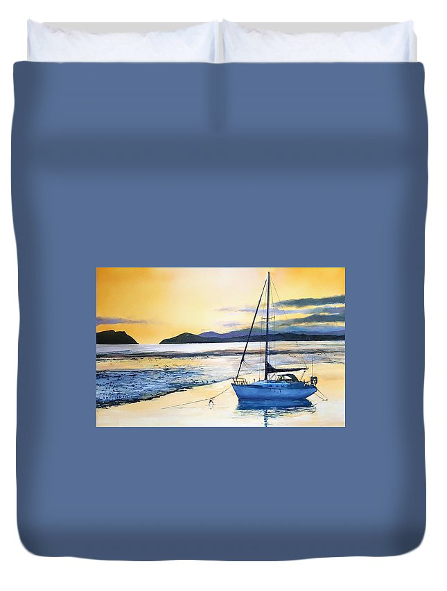 Yacht Duvet Cover featuring the painting Low Tide by Tim Johnson