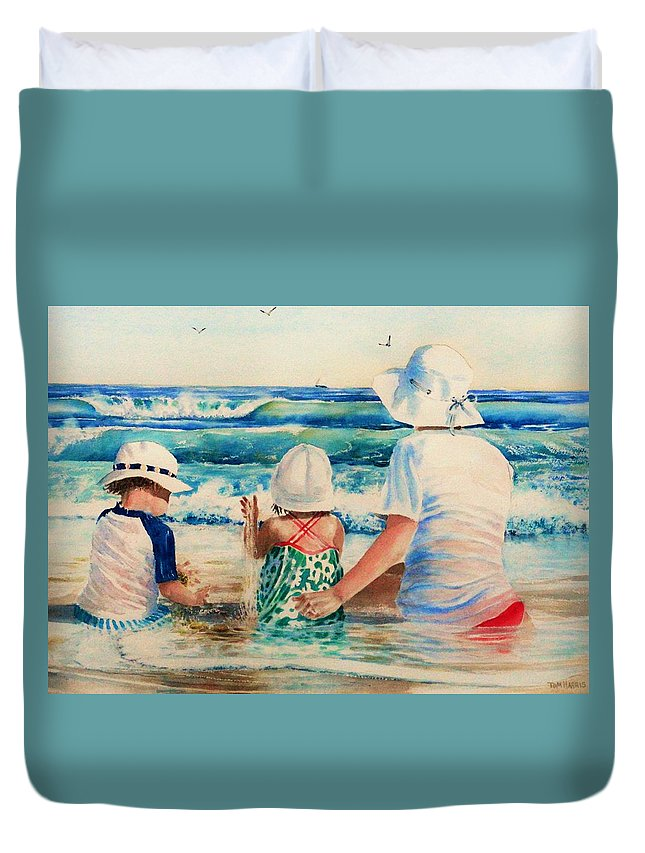 Beach Duvet Cover featuring the painting Low Tide by Tom Harris